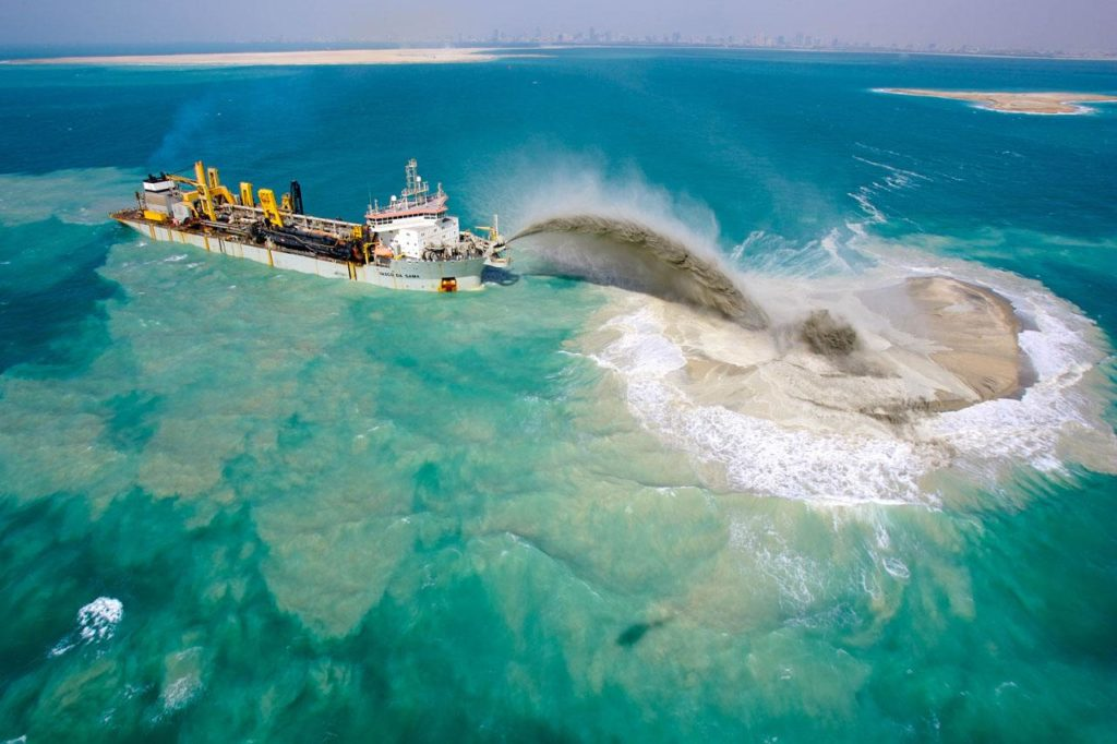 the world dubai : construction avec du sable