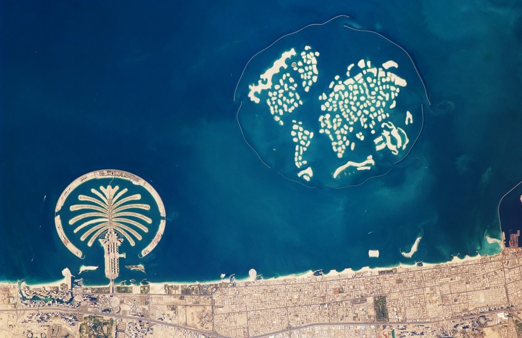the world à Dubaï : vue satellite