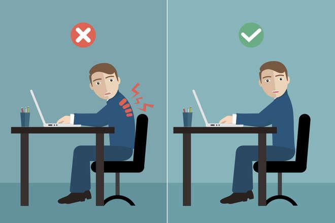 position au bureau : dos droit