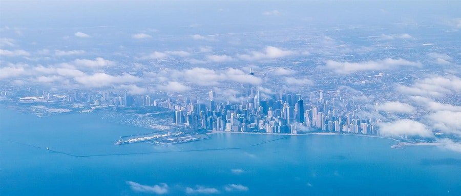 Photo prise du hublot d'un avion : Chicago, Etats-Unis