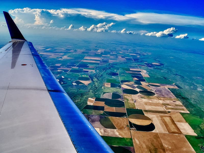 Photo prise du hublot d'un avion : Paysage du Kansas, Etats-Unis