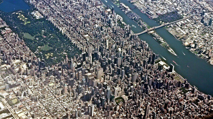 Photo prise du hublot d'un avion : Manhattan, New York, Etats-Unis