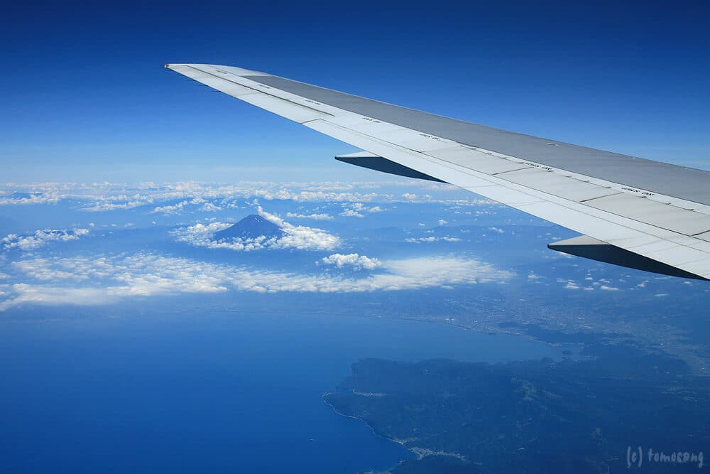Photo prise du hublot d'un avion : Mont Fuji, Japon