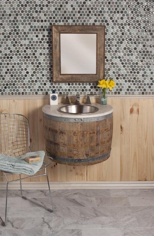 tonneau Version meuble de lavabo