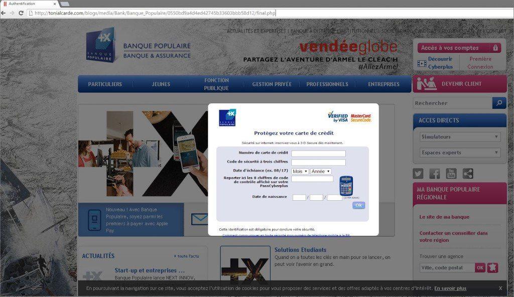 Exemple de Phishing Banque Populaire / Piratage / Vol de données bancaires