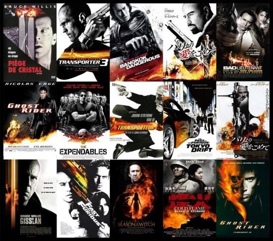Flammes sur fond noir et blanc - plagiat affiches cinéma