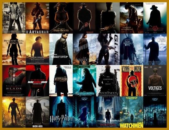 Les héros, de dos et mystérieux - plagiat affiches cinéma
