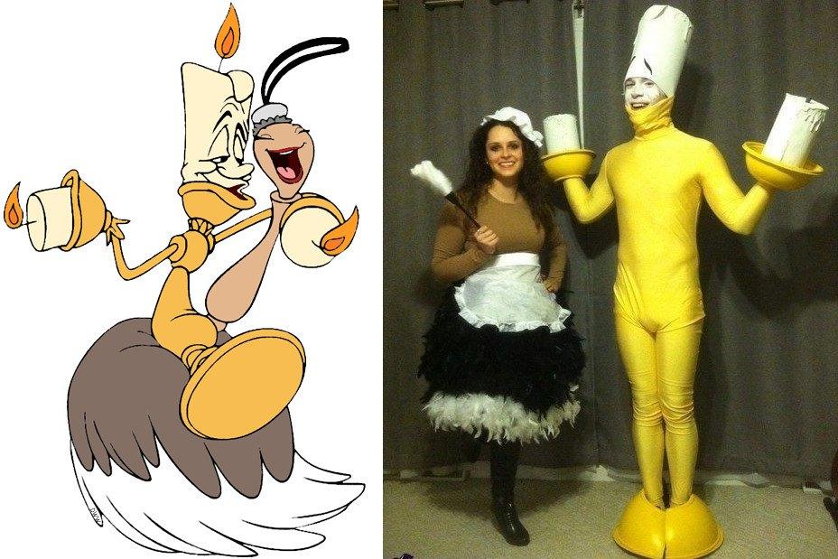 costumes couples halloween : Lumière et Fifi (la Belle et la Bête)